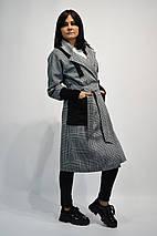 Пальто женские в клетку 1653 серое, фото 3