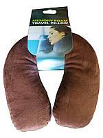 Подушка под шею Антистресс из полистерольных шариков коричневая