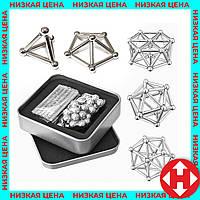 Магнитный конструктор Neo (36 палочек, 27 шариков) металлик, головоломка неокуб (магнитные шарики), фото 1