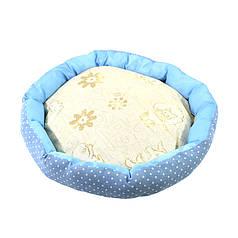 Лежак для котов собак Taotaopets 511101-01 L Blue круглый лежанка домашних животных