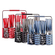 Набор столовых приборов Kamille Синий 25 предмета из нержавеющей стали с пластиковыми ручками и подставкой KM-5244, фото 2