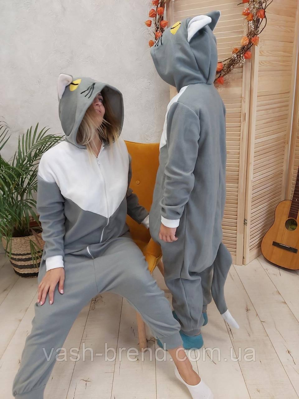 Пижама Кигуруми серая кошка для детей и взрослых