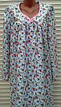 Теплая ночная рубашка из фланели 50 размер Розовые бутоны, фото 3