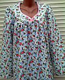 Теплая ночная рубашка из фланели 50 размер Розовые бутоны, фото 6