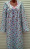 Теплая ночная рубашка из фланели 50 размер Розовые бутоны, фото 8