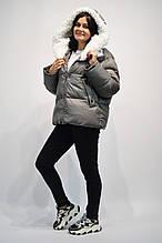 Куртка серая капюшоном белый мех барашка 812 L размер