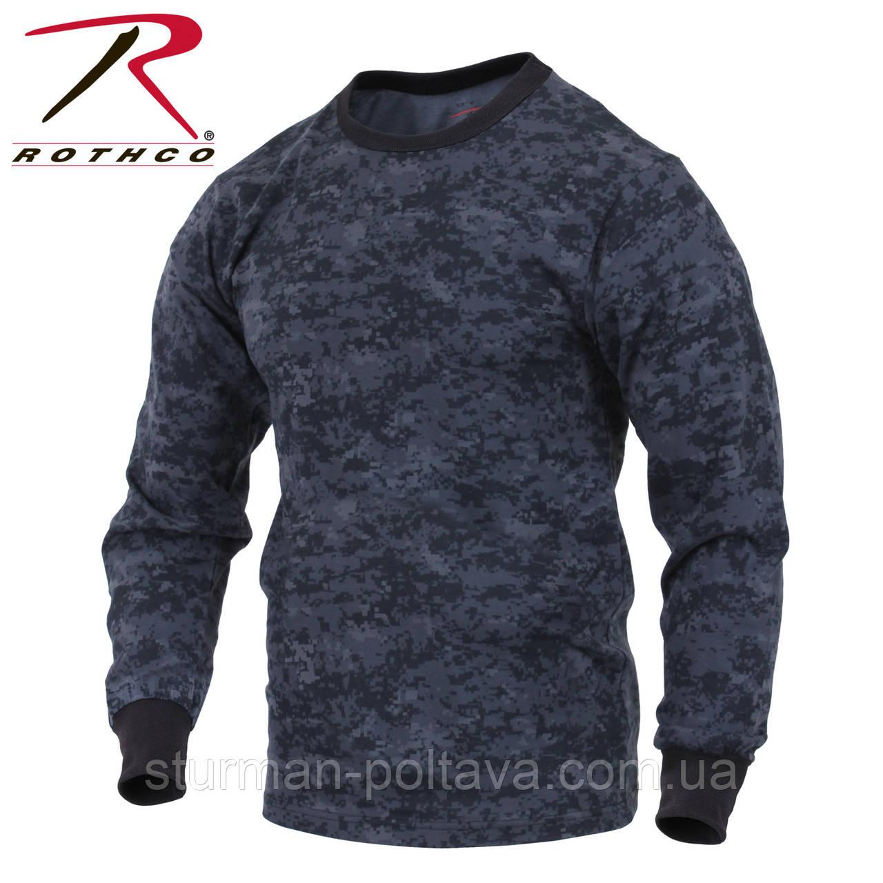 Футболка мужская тактическая камуфляжная  ночной пиксель Sleeve Digital Camo длинный рукав   Rоtcho США