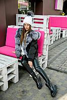 Куртка из натурального меха чернобурки черная на девочку-подростка рост 134-176