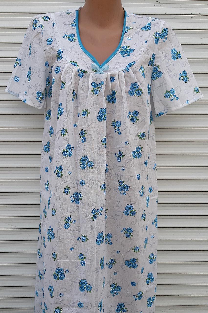 Ночная рубашка с коротким рукавом 56 размер Голубые букеты