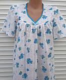 Ночная рубашка с коротким рукавом 56 размер Голубые букеты, фото 2