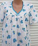 Ночная рубашка с коротким рукавом 56 размер Голубые букеты, фото 3