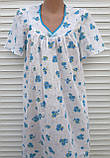 Ночная рубашка с коротким рукавом 56 размер Голубые букеты, фото 6