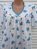 Ночная рубашка с коротким рукавом 56 размер Голубые букеты, фото 7