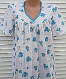 Ночная рубашка с коротким рукавом 56 размер Голубые букеты, фото 8