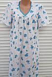 Ночная рубашка с коротким рукавом 56 размер Голубые букеты, фото 9