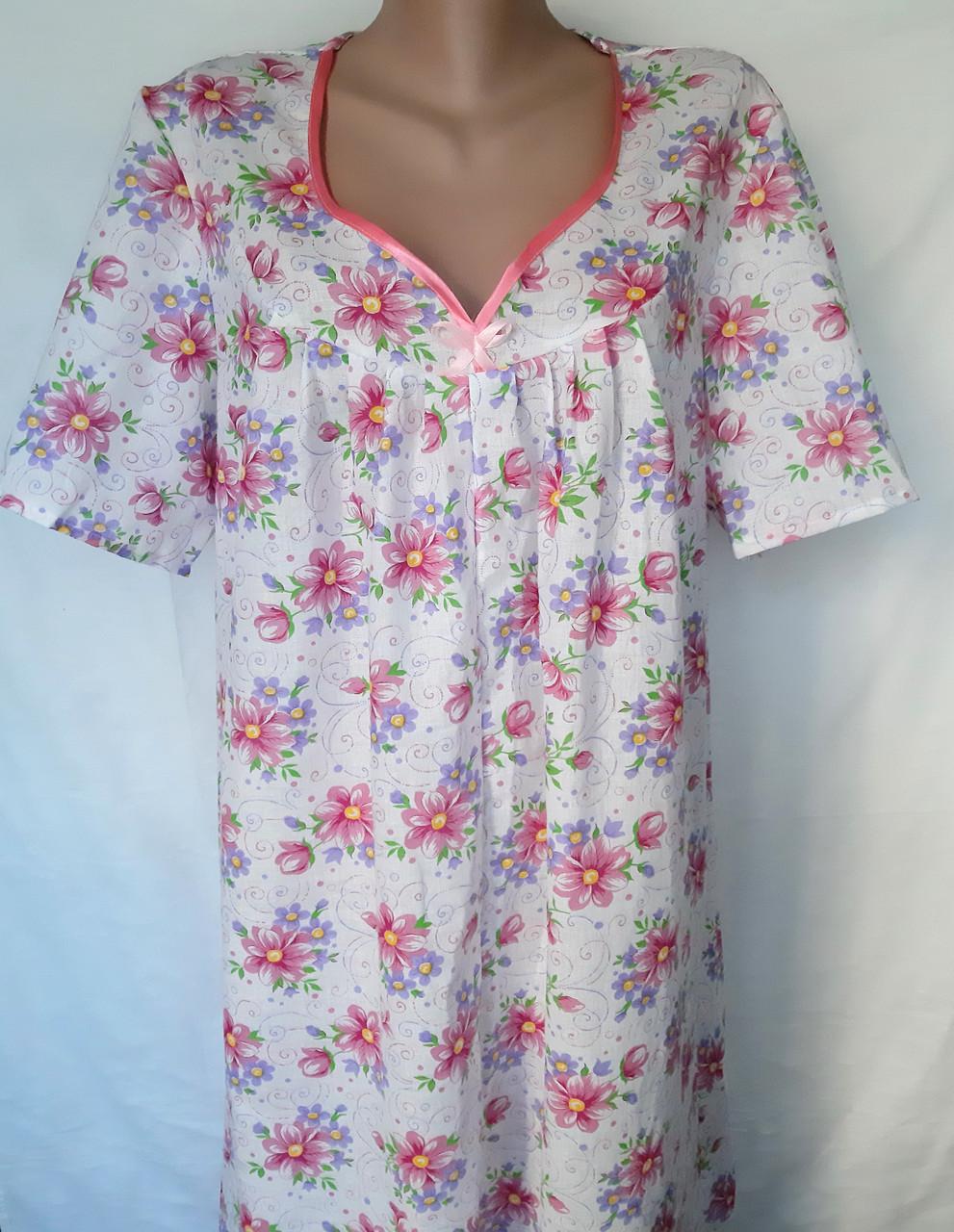 Ночная рубашка с коротким рукавом 64 размер Герберы