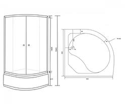 Душевая кабина на глубоком поддоне Gray 90х90, фото 3