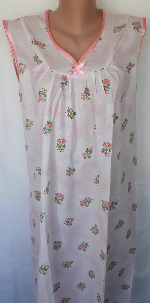Ночная рубашка без рукава 50 размер Розовый бантик