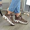 Ботинки женские комбинированные спортивного стиля, цвет визон, фото 3