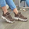 Ботинки женские комбинированные спортивного стиля, цвет визон, фото 4