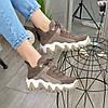 Ботинки женские комбинированные спортивного стиля, цвет визон, фото 6