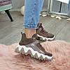 Ботинки женские комбинированные спортивного стиля, цвет визон, фото 7