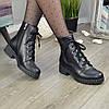 Ботинки женские кожаные на невысоком устойчивом каблуке. Цвет черный, фото 4