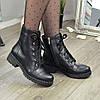 Ботинки женские кожаные на невысоком устойчивом каблуке. Цвет черный, фото 5