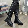 Ботфорты женские кожаные спортивного стиля. Цвет черный, фото 2