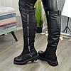 Ботфорты женские кожаные спортивного стиля. Цвет черный, фото 3