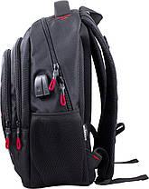 Рюкзак школьный подростковый на три отдела черно-красный ортопедический Winner One 405-5, фото 2
