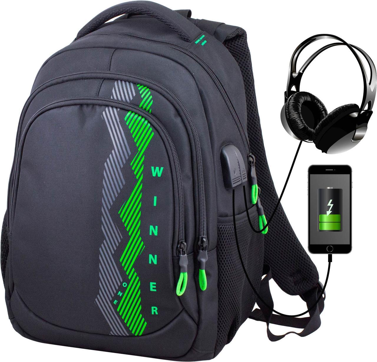 Рюкзак шкільний підлітковий на три відділи ортопедичний чорно-зелений Winner One 405-5 GR