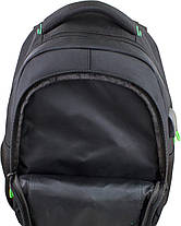 Рюкзак шкільний підлітковий на три відділи ортопедичний чорно-зелений Winner One 405-5 GR, фото 3