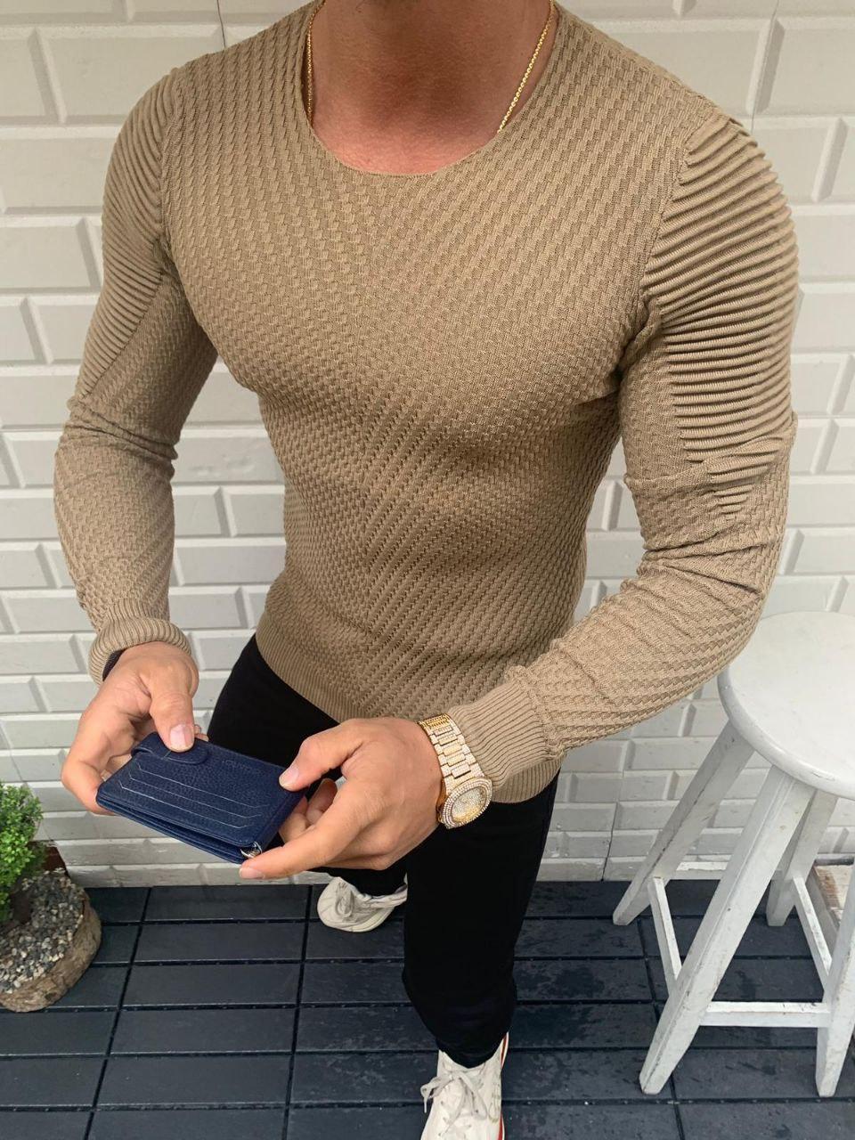 😜 Свитер - Мужской кофейный свитер (шерсть + хлопок)