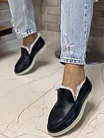 Женские полуботинки, зимние туфли, черные кожаные с мехом