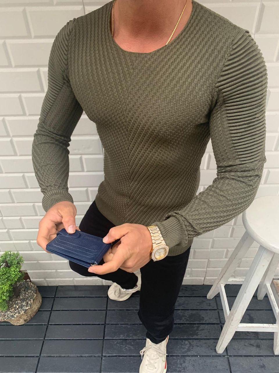😜 Свитер - Мужской  свитер (вискоза + хлопок) цвет хаки