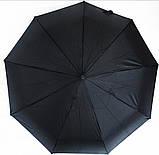 Зонт мужской полуавтомат складной анти-ветер черный на 9 спиц, фото 3