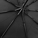 Зонт мужской полуавтомат складной анти-ветер черный на 9 спиц, фото 4