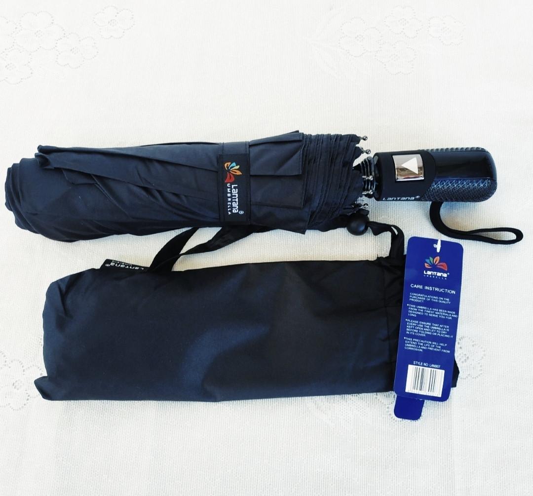 Зонт мужской полуавтомат складной анти-ветер черный на 9 спиц