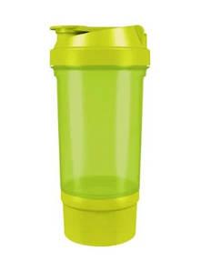Шейкер спортивний Shake360 500 мл. з контейнером Green