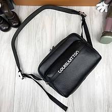 Кожаная мужская сумка мессенджер Louis Vuitton черная Качество сумка на плечо Брендовая Луи Виттон реплика
