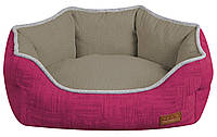 Диван для животного COZY FUXIA, овальный, розово-серый, 75х60х20см