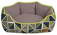 Диван для животного COZY RAY, овальный, серый/зелено-синий, 85x66x23см