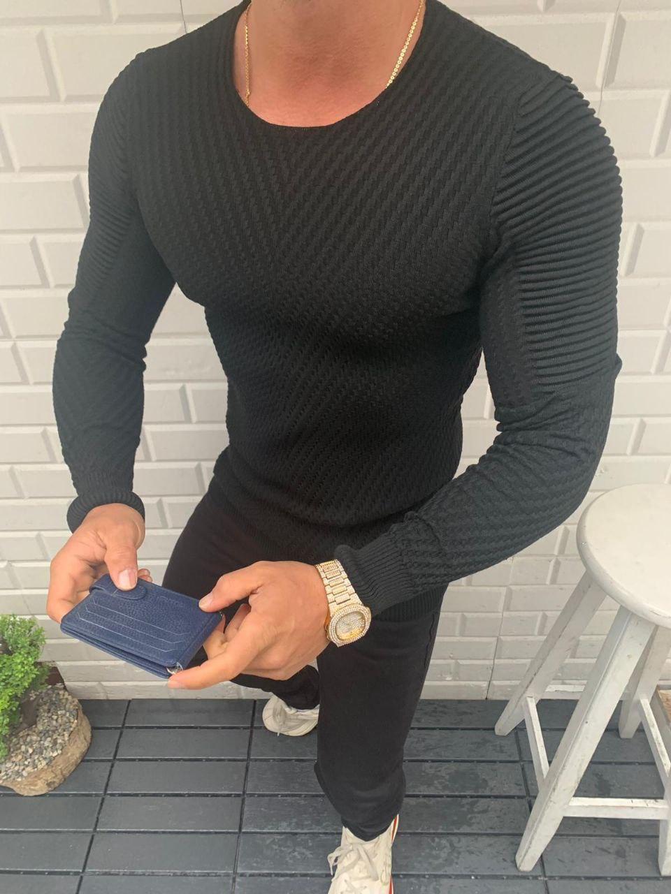 😜 Светр Чоловічий светр (віскоза + бавовна) колір чорний