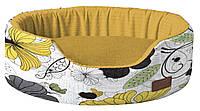 Лежак для животного COZY FLO, овальный, оранж/цветы, 75х60х20см