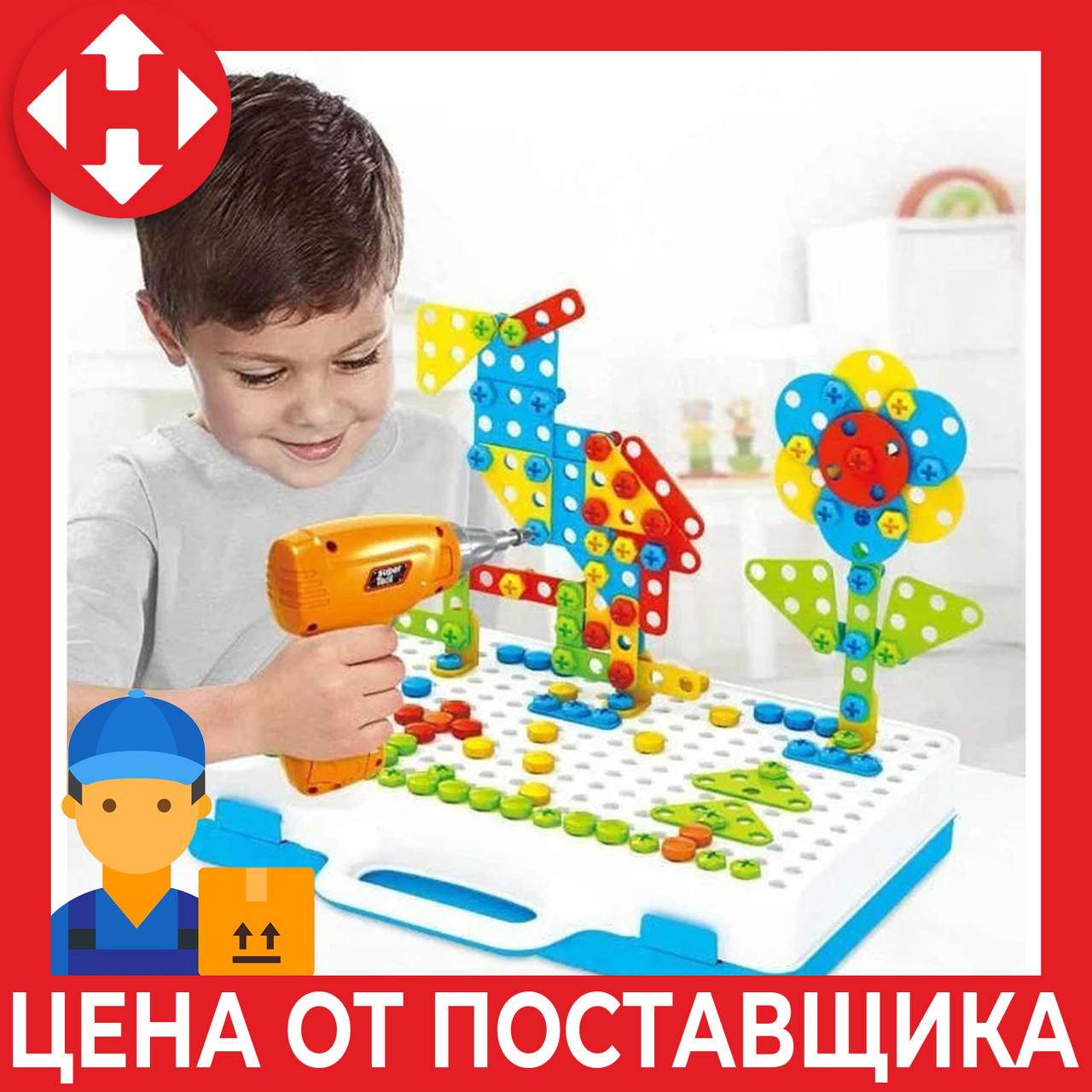 Дитячий пластиковий конструктор для хлопчика (3, 4, 5, 6 років) Puzzle Creative 4in1 з шуруповертом,