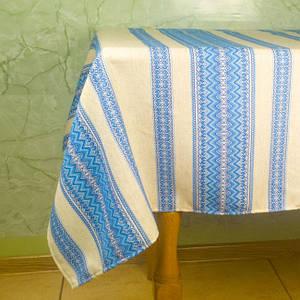 Скатерть льняная с орнаментом 110*145см, Скатерть, голубой