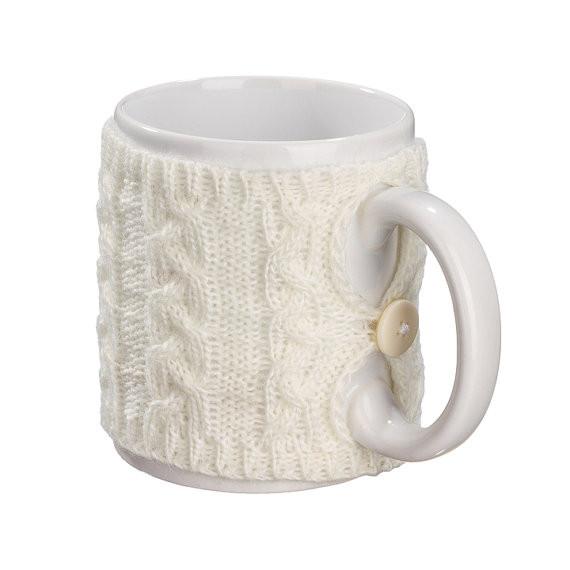 Вязаный чехол для чашки косы Ohaina Warm white