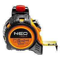 Рулетка стальная лента 5 м x 25 мм с фиксатором selflock защелка NEO TOOLS 67-205, фото 1