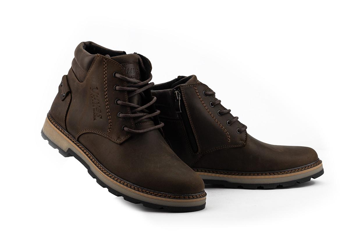 Мужские ботинки кожаные зимние коричневые-матовые Yuves 775